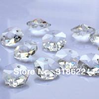 ingrosso perlina in ottone di vetro-New Clear White Octagon beads in 2 fori CutFaceted Crystal Glass Beads, Tende, 14mm 100 pz / lotto Spedizione Gratuita