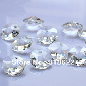 New Clear White Octagon beads in 2 holes Cut&Faceted Crystal Glass Beads,Curtains Beads,14mm 100pcs lot Free Shipping