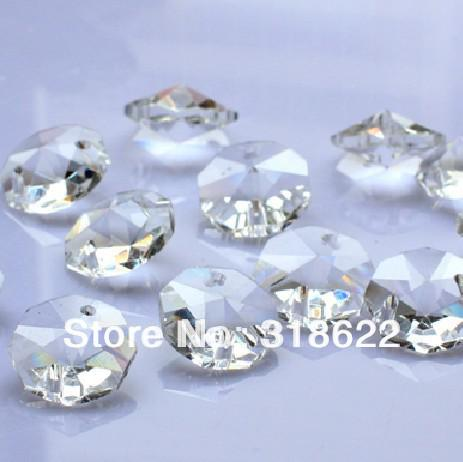 New Clear White Octagon beads in 2 holes Cut&Faceted Crystal Glass Beads,Curtains Beads,14mm 100pcs/lot Free Shipping