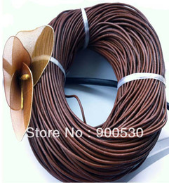 Wholesale Jewelry Leather Bracelet Cord - Free shipping COFFEE 100% COW Round Real Leather Jewelry Cord 2mm Genuine Leather Cord Bracelet & Necklace Cord