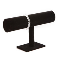 Wholesale Black Velvet Jewelry Bracelet Necklace Watch Display Stand Holder organizer T bar Freeshipping Dropshipping