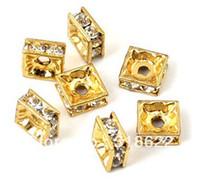 conectores de cristal venda por atacado-6mm Quadrado de Cristal Grânulos de Metal Strass, Prata / Banhado A Ouro Liga Spacer Conector Beads, Esposas de Basquete Beads100PCS