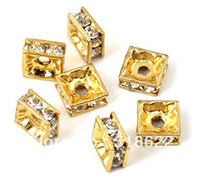 Wholesale Metal Basketball Bead - 6mm Square Crystal Rhinestone Metal Beads, Silver Gold Plated Alloy Spacer Connector Beads, Basketball Wives Beads100PCS