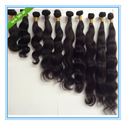 Wholesale Long 28 Inch Hair Extensions - Unprocessed virgin brazilian indian malaysian peruvian human hair extensions body wave natural color hair weft weave 3pcs lot free shipping