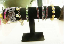 Wholesale Free T Bars - New Velvet Bracelet Necklace Watch T-Bar Jewelry Display Stand Rack Black free shipping