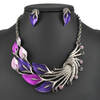 Wholesale Peacock Design Jewelry - Fashion Wedding Jewelry Sets Woman's Necklace Set Peacock Design High Quality Party Gifts Free Shipping
