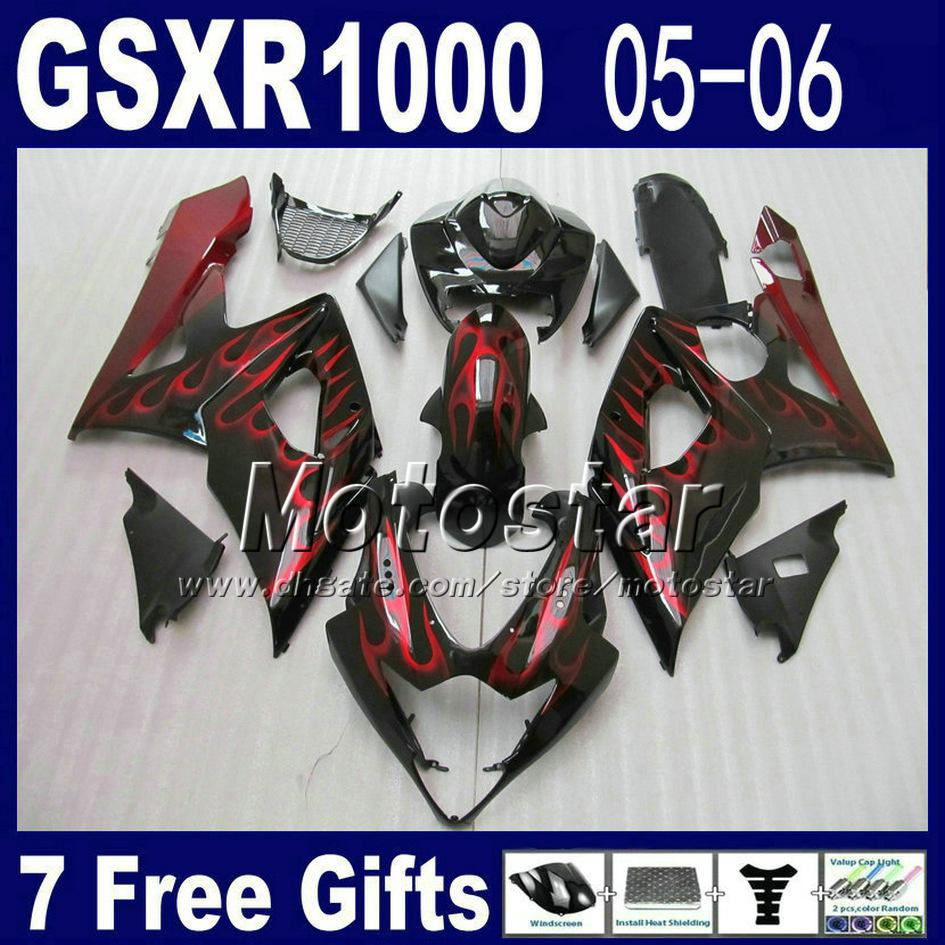 Motorcycle Fairing kit for 2005 2006 SUZUKI GSXR 1000 K5 GSX-R1000 glossy flat black with red flame fairings set GSXR1000 05 06