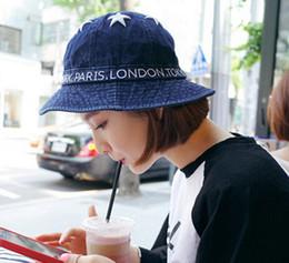 Wholesale denim yarn - 2015 Women Hats Star Embroidery Denim Sun Cap Fisherman Hat Women Basin Caps Free Shipping