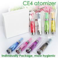 punta de goteo evod al por mayor-CE4 Atomizer 1.6ml Cigarrillo electrónico atomizador ego con puntas de goteo de color para 510 eGo batería evod mt3 protank e líquido clearomizer