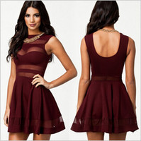 Wholesale Red Mesh Skater Dress - Black blue red Sexy Mesh Panel Club Skater Dress Ladies Transparent Mini Party Summer Dresses hollow out patchwork sexy club