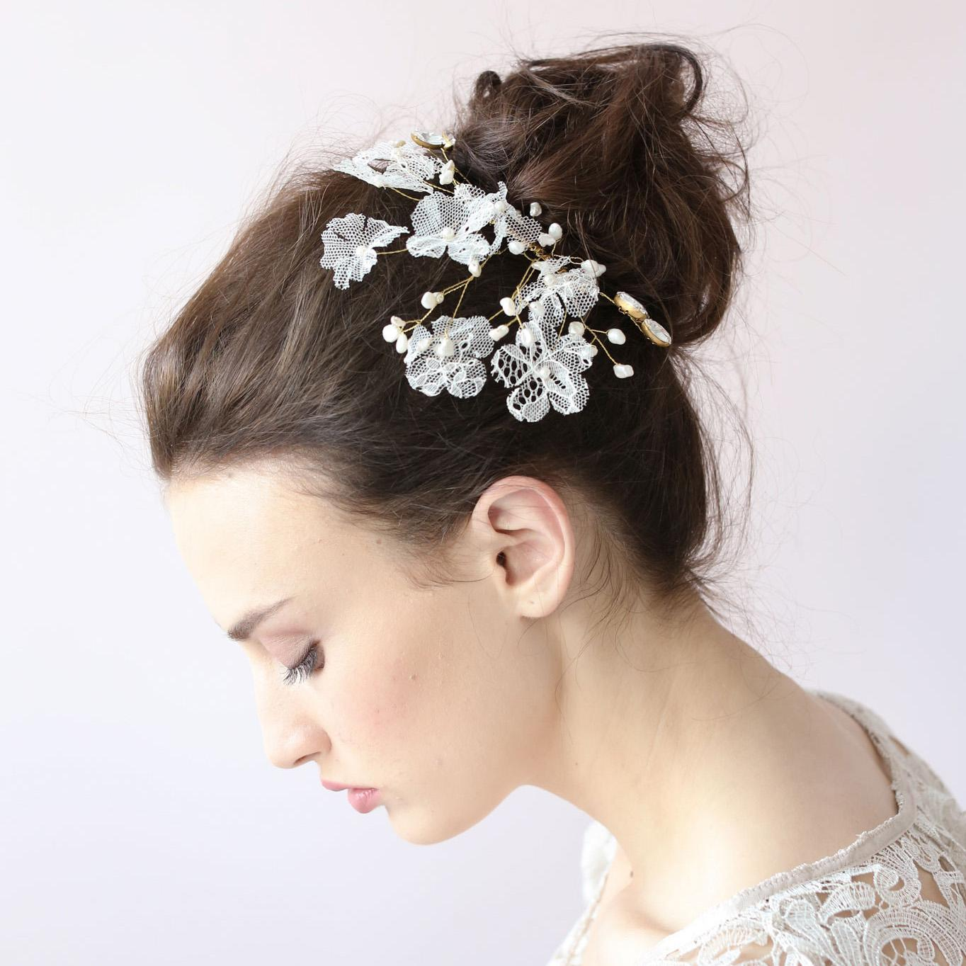 white crystal flower hair clip lace sparkle leaf hair clip hair
