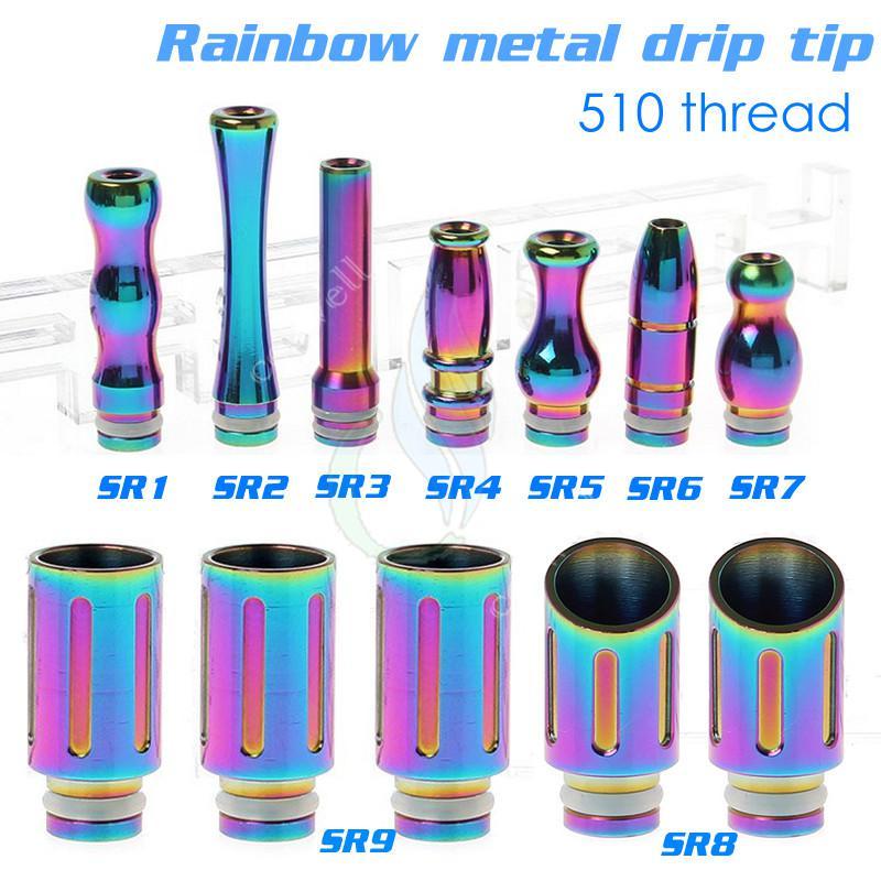 510 Drip Tips Schädel Drache Form Regenbogen Metall Glas Luftstrom Kohlefaser für E Zigarette Vapor Mods Ego RDA Rebuildable Zerstäuber Mundstück