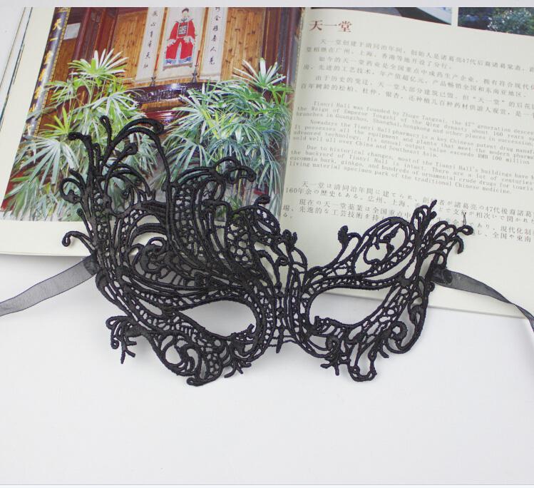 Augen-Maske der schwarzen Spitze-reizvollen mysteriösen Frauen für Maskerade-Partei-Abschlussball-Halloween-Abendkleid-Partei / Eilverschiffen frei