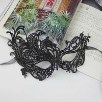 Wholesale lace masks for ball resale online - Black Lace Sexy Mysterious Women s Eye Mask For Masquerade Party Prom Ball Halloween Fancy Dress Party Express Shipping Free