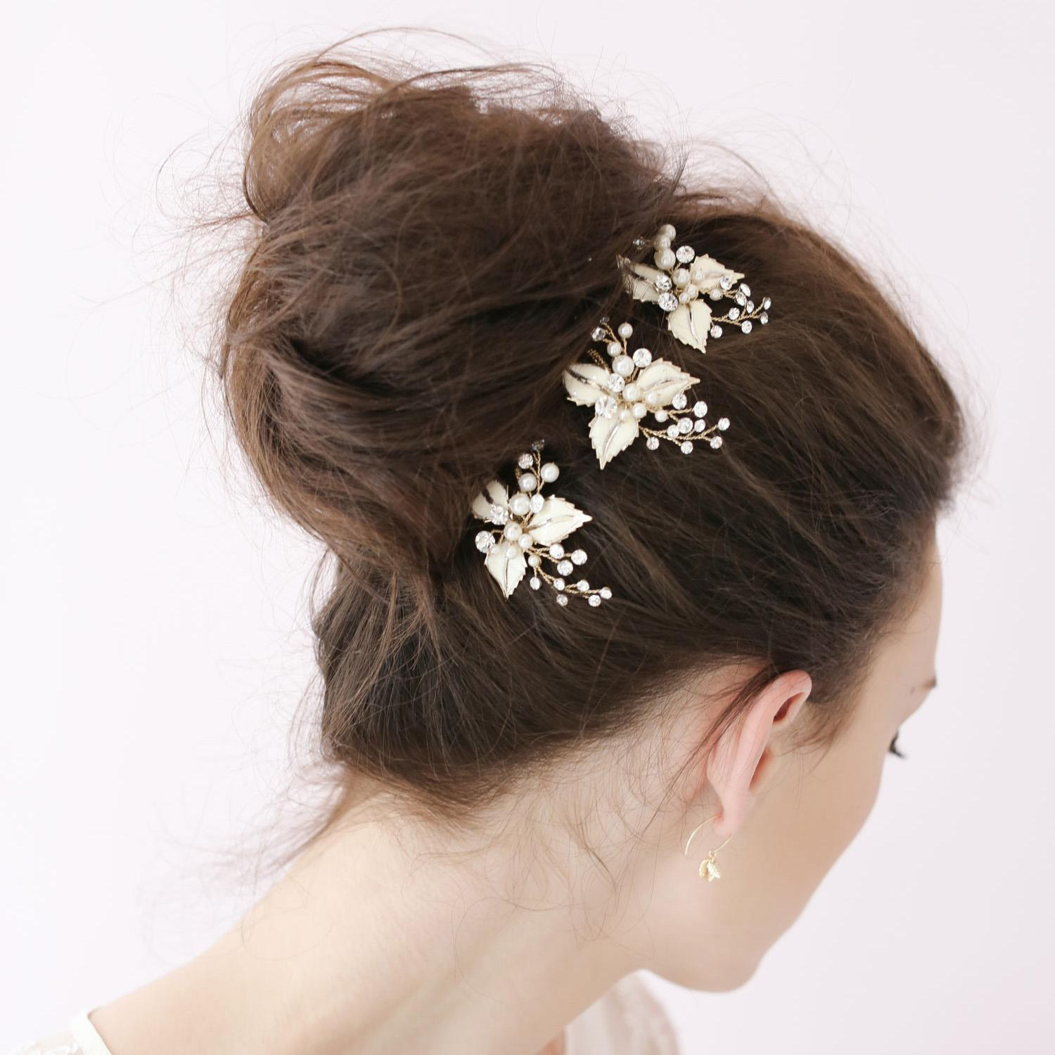 petite enamel leaf tiaras bobby pin bridal hair accessories pins