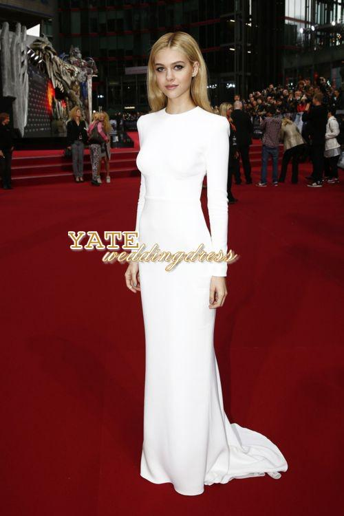 Nicole Piltz Equipaggio Elegante Bianco Abiti da sera manica lunga a manica lunga Backless Sexy Piano Lunghezza Red Carpet Carpet Celebrity Dress