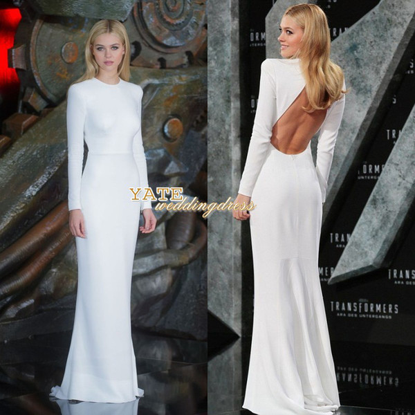 best selling Nicole Piltz Crew Elegant White Long Sleeve Evening Party Dresses Backless Sexy Floor Length Red Carpet Celebrity Dress