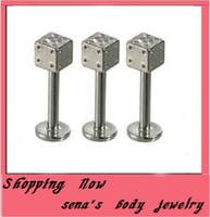 Wholesale Piercing Labret Dice - Stainless Steel Dice Lip Rings Bars Labret Stud Piercing lip ring 50pcs 6 8 10mm