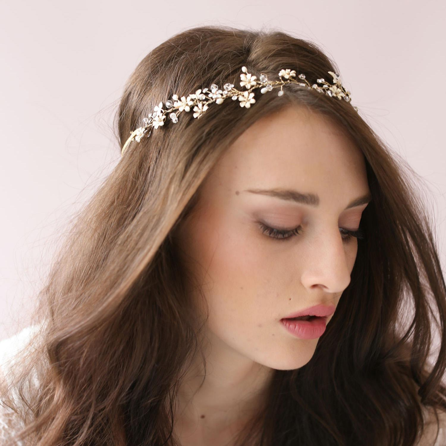 tiny enamel blossom crystal hair vine bridal hairband acessories