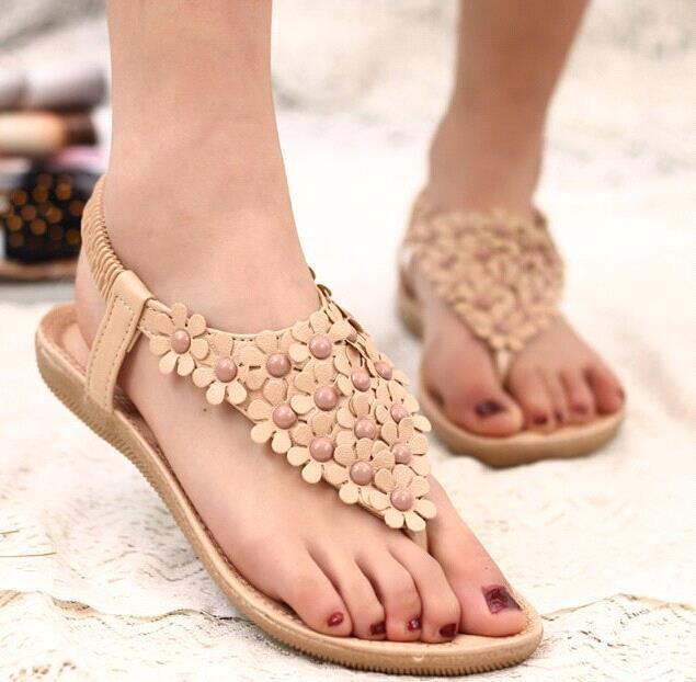 30bcb198ae2f29 New Korean Women s Shoes Sandals Flat Shoes Flattie Rhinestone Women Sandals  Bohemian Beaded Flower Sandals Beige Drop Shipping Platform Shoes Prom Shoes  ...