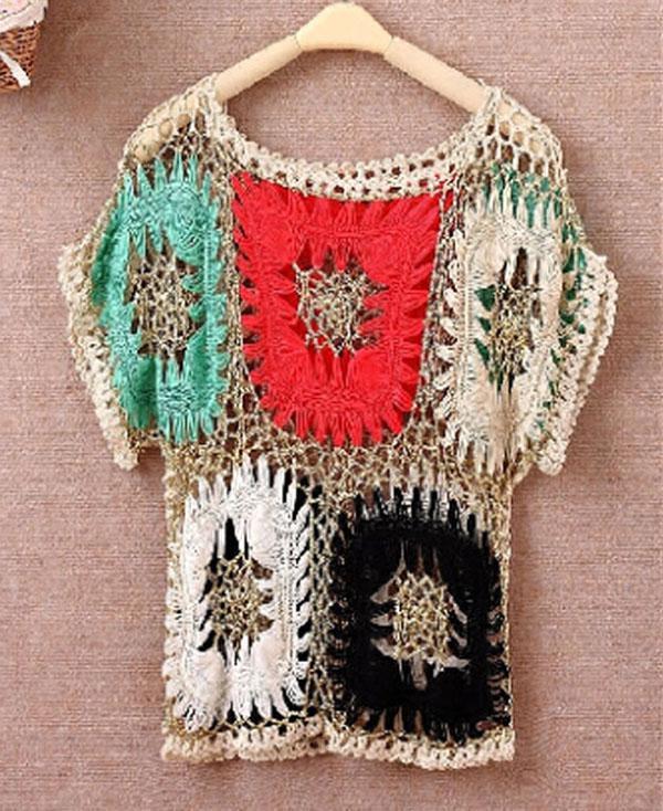 Printemps Été Femmes Tricots Pull Sexy Bikini Colorized Crochet Blouse Tops Maillots de Bain Poncho Cape Tee Shirt Couverture