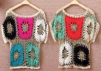 kazak bikini toptan satış-Bahar Yaz kadın knits Kazak Seksi Bikini Renklendirme Tığ Bluz Üstleri Mayosu Panço Pelerin Tee Gömlek Kapak UP