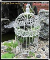 ingrosso gabbia di uccelli-Gabbia di uccelli decorativi bianca classica per la cerimonia nuziale del gattino del metallo di cerimonia nuziale decorazione Birdcage