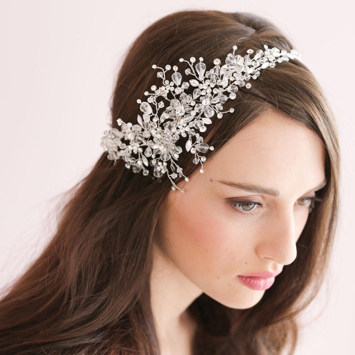handmade crystal ice bridal sparking headpiece beaded wedding