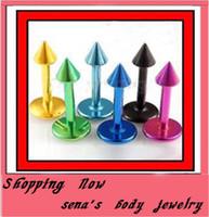 Wholesale Lip Piercing Cone - wholesales 100pcs lot mix 8 colors 316L anodied body jewelry lip piercing Cone labret