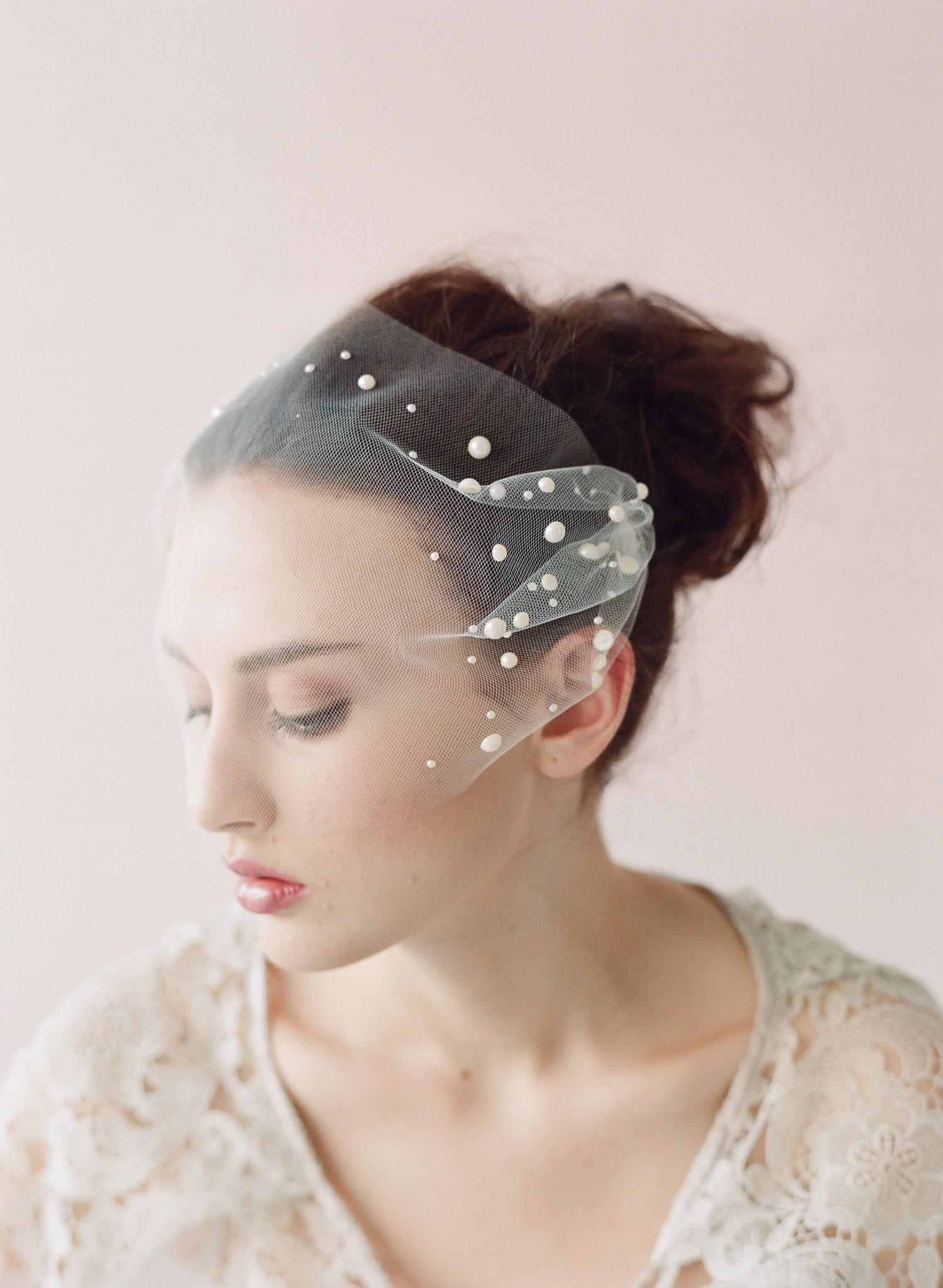 Illusion Short Wedding Veils Pearl Adorned Tulle Bandeau Veil Blusher Veils Hand Applied Pearl Beads Sewn To 2 Separate Gold Plated Veils