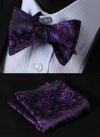 pajarita morada al por mayor-Morado negro floral clásico 100% de seda jacquard tejido hombres auto pajarita Bowtie bolsillo cuadrado pañuelo traje conjunto