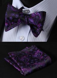 Uomini legami di arco floreale online-Completo classico fazzoletto da taschino a fazzoletto da taschino con bottoni a cravatta a farfalla, in jacquard intessuto, 100% seta, nero classico floreale