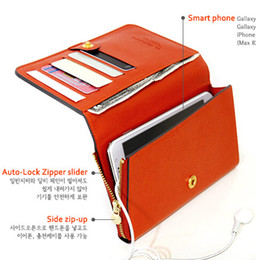 Wholesale Iphone 4s Pouches - New Flip wallet cellphone case pocket women bandbag PU leather mobile phone bag pouch for iphone 5 5S 5C 4 4S 6 Samsung S5 S4 NOTE 3