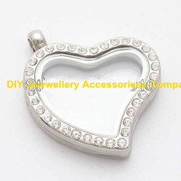 Wholesale Glass Float Free Shipping - 5PCS 30mm Silver Heart magnetic glass floating charm locket Zinc Alloy+Rhinestone Free shipping (chains included for free)