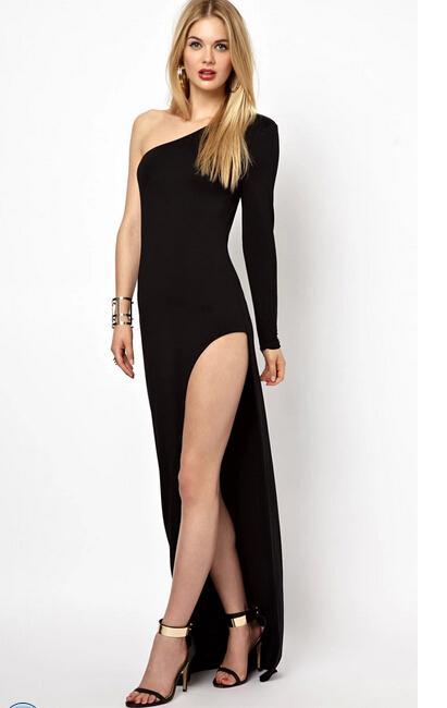 أزياء النساء الفساتين الطويلة فستان ماكسي عارية الذراعين واحدة-- الكتف انقسام الجانب السيدات تنورة صيف جديد مثير فستان حفلة موسيقية الطرف اللباس عارضة e5