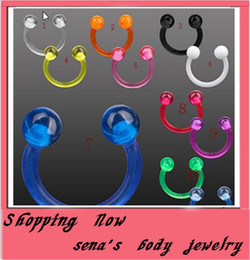 Wholesale Acrylic Nose Studs - mixed pure color SOFT lip ring Labret Nose Ring Flexible circular barbell ring
