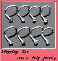 Wholesale Tongue Piercings Sale - Hot sale 18 gauge nose stud with gem nose ring body jewelry body piercing jewelry mixing color