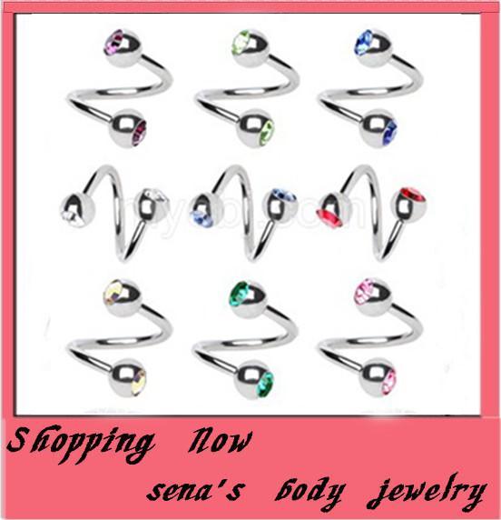 Aço Cirúrgico Spiral Twister Anéis Anel Labirinto Anel Labet Promoção Piercing Jóias 100 pcs