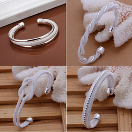 Discount sterling silver twisted bangle bracelet - Promotion Fashion 4 Kinds Women's 925 Silver Bangle Bracelets Jewelry Mix 4 Style 925 Silver Shining Women's B
