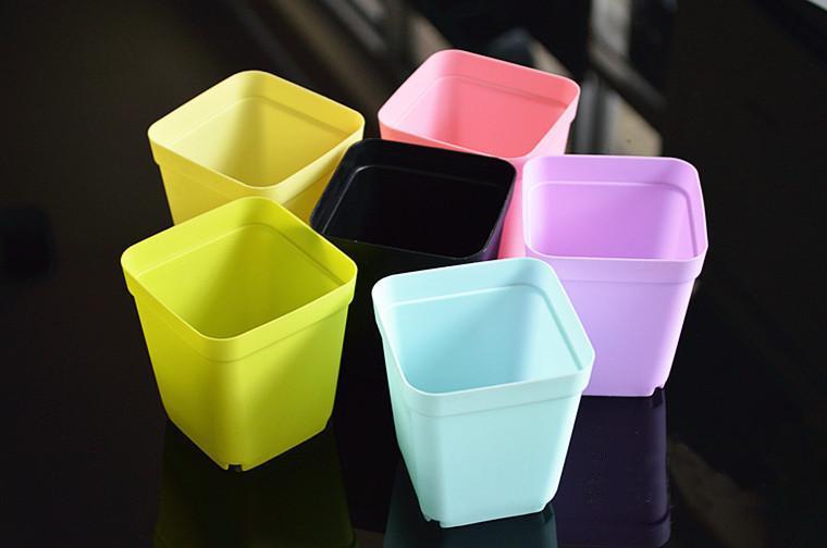 Tavolo in plastica Mini Bonsai Fioriere Piante grasse Vasi con piatto da giardino Vaso quadrato Vaso da fiori colorato