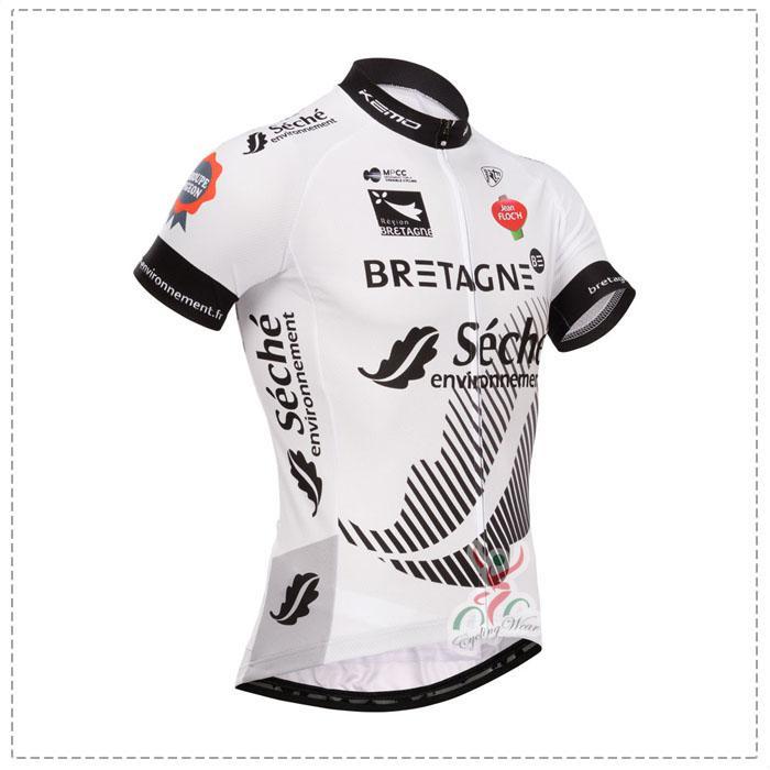 2014 TOUR DE FRANCE Bretagne-Seche TEAM فريق أبيض قصير كم قميص جيرسي
