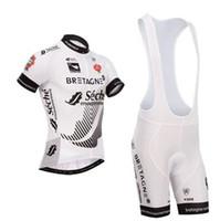 tour france cycling jerseys sets venda por atacado-2014 TOUR DE FRANCE Bretagne-Seche EQUIPE BRANCO CURTA MANGA CICLISMO JERSEY CICLISMO DE DESGASTE + BIB SHORTS TAMANHO SET: XS-4XL S10