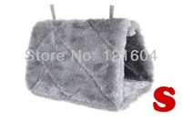 Wholesale Grey Happy Hut Hammock Hanging Cave Cage House Plush Snuggle Tent Bed Bunk Bird Parrot Hamster Rat Mouse Toy Small