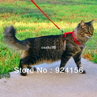 Wholesale Kitten Cat Harness Lead - Free Shipping New Pet Cat Adjustable Nylon Lead Leash Collar Harness Kitten Belt Safety Rope, Singapore Post Airmail