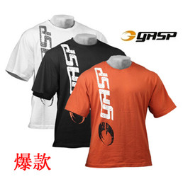 Wholesale Men Shirt Fabric - Latest shirt designs for men 100% cotton fabric mens printed t shirt men gym gold GASP casual shirt fitness and bodybuilding tees t shirt