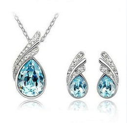 Wholesale Eastern Element - Austrian swarovski element platinum Plated CZ crystal jewelry set earring necklace