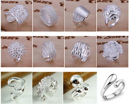 Wholesale Factory Stone - free shipping (Jewelry Factory) Beautiful mixed 12pair Charm 925 silver Ring jewelry Lowest price Fashion 1010