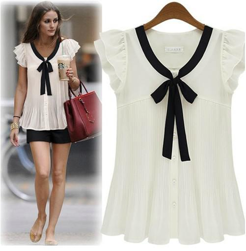 ed716db67f2 2019 New 2014 Women Summer Fashion Tops Ruffles Sleeveless Solid Slim  Chiffon Tshirt Ladies Blouses Shirts From Sunnyroom
