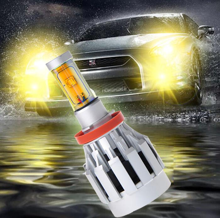 2 Sets H11 60W CREE Gold Yellow LED Headlight All In One XM-L2 SMD Universal 12V/24V 3000K 4000lm Built-in Heat Dispense Fan Mix 9005 9006