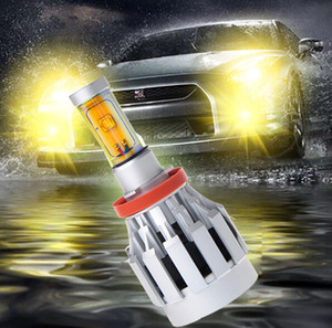 Wholesale 2 Sets H11 W CREE Gold Yellow LED Headlight All In One XM L2 SMD Universal V V K lm Built in Heat Dispense Fan Mix